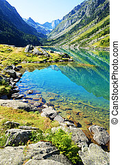 Gaube lake near village Cauterets in the Hautes-Pyrenees department, France, Europe.