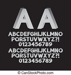 gauche, bas, isométrique, police, droit