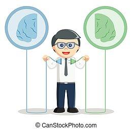 gauche, cerveau, relier, homme affaires