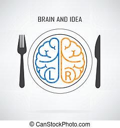 gauche, créatif, cerveau, droit, idée, concept