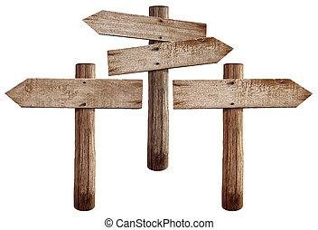 gauche, deux, droit, route, vieux, bois, isolé, flèches, ...