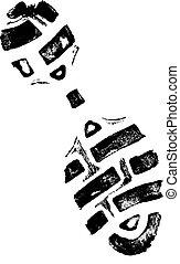 gauche, impression, chaussure, 2
