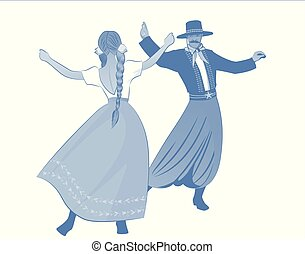 Gaucho with mustache and hat and woman with braids dancing ...