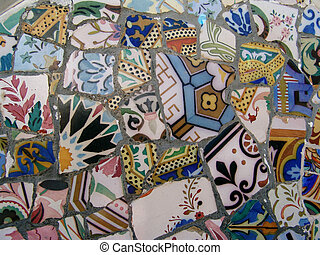gaudi mosaic - detail of a bench in park guell, barcelona,...