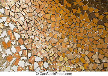 Gaudi Mosaic - mosaic tile pieces in guell park in barcelona...