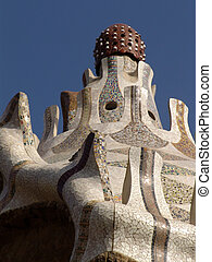 gaudi roof - roof of one of the entrance houses of park...