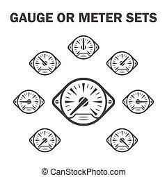 Gauge meter icons sets.