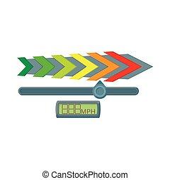 Gauge speedometer icon, cartoon style