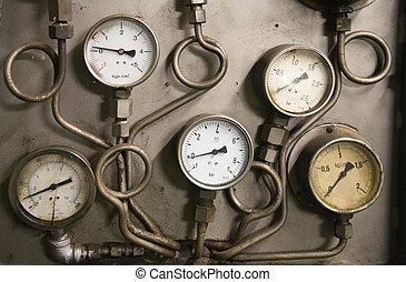 Gauges - A decayed panel of gauges