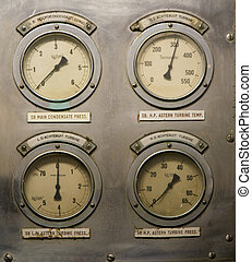 Gauges - A decayed panel of gauges