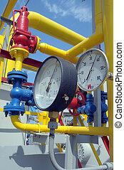 Gauges are on the gas compressor station