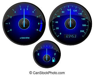 Gauges - Modern blue speedometer, tachometer and fuel gauge...