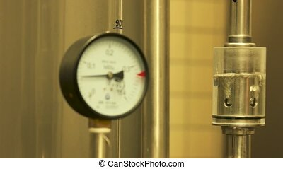 Gauges pressure control device. Manometer at craft brewery...