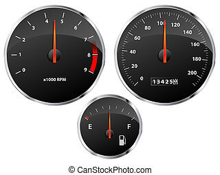 Gauges - Speedometer, tachometer and fuel gauge set with...