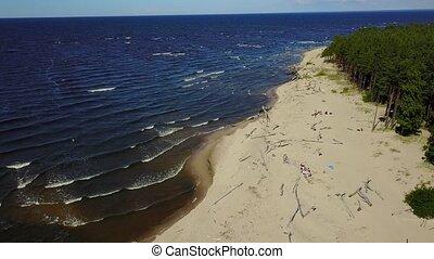 Gauja river Latvia drain into Baltic Sea aerial drone top...