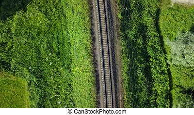 Gauja river railroad bridge Latvia aerial drone top view 4K UHD video