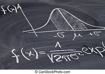Gaussian or bell curve on a blackboard - Gaussian, bell or ...