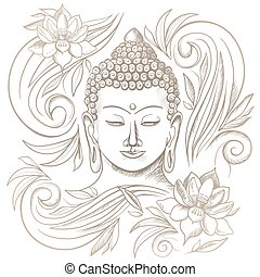 Gautama buddha with closed eyes and floral pattern vector illustration