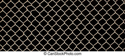 Gauze - Wire mesh fence close-up on a black background