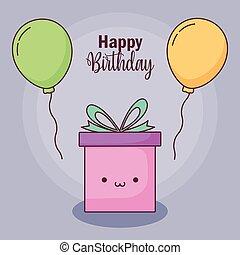 gave, balloner, fødselsdag, helium, card, glade