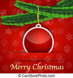 gave, træ, bauble, hængende, ferie, card christmas