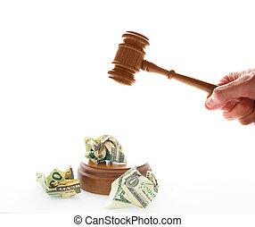 gavel, amarrotado, dinheiro, legal, batendo