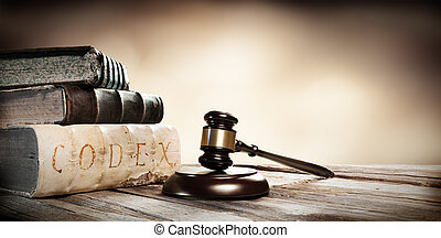Gavel And Ancient Books On Table