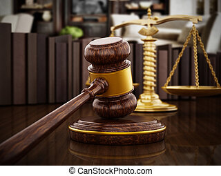 Gavel and balanced scale on wooden table. 3D illustration