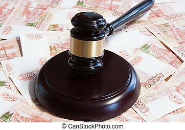 Gavel and five thousandth Russian money
