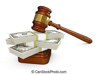 Gavel and money stack. High detailed 3d illustration