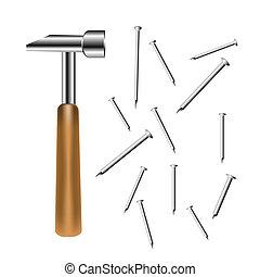 Building tools gavel and nail