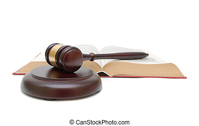 gavel and open book on white background
