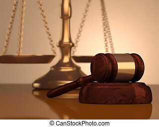 Gavel and scale of justice - A golden justice scale and...