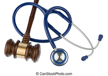 gavel and stethoscope, symbol photo for bungling and medical...