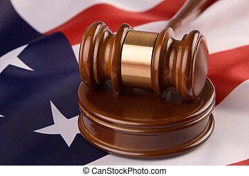 Gavel and the U.S. flag