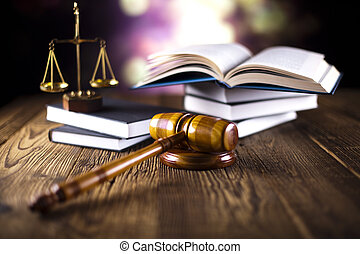 gavel, boekjes , wet, houten