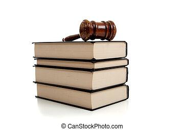 gavel bois, dessus, a, pile, de, livres loi