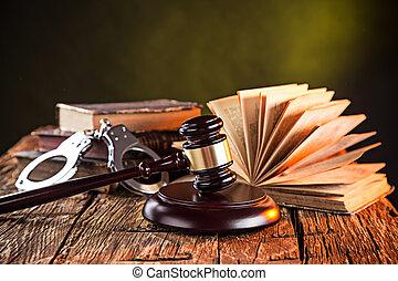 gavel bois, et, livres, sur, table bois