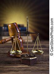 gavel bois, juges, échelle, droit & loi