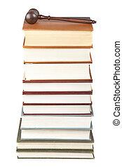 gavel bois, livres loi