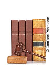 gavel bois, livres, vieux, droit & loi