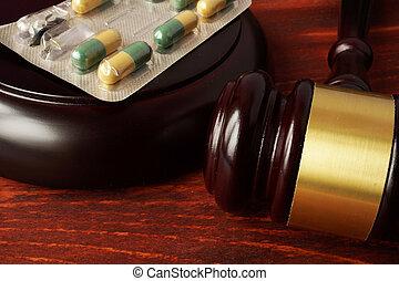 gavel bois, table., pilules