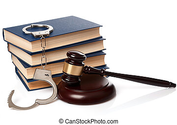 Gavel, books and handcuffs