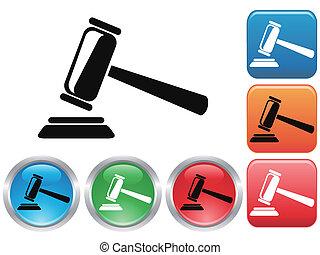 gavel, botão, jogo, ícones