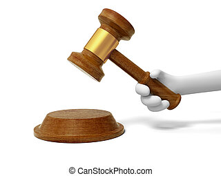 gavel - A 3d hand taking a gavel, knocking