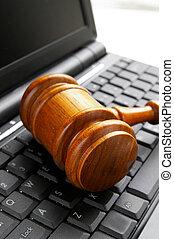 gavel, computador, closeup