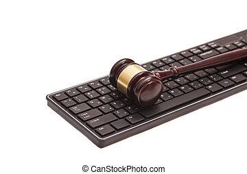 Gavel, computador, pretas, teclado