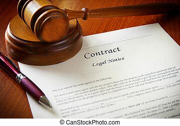 gavel, contracteren, zakelijk, wettelijk