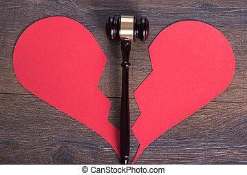 gavel, coração, conceito, divórcio