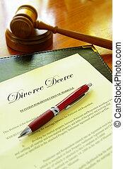 gavel, divórcio, decreto, documento, corte